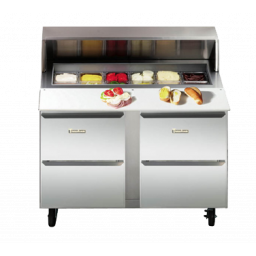 Refrigerated Prep Table, 27″ Wide, Roll Top Lid, 2 Drawers, Traulsen UPD2709D0-0300