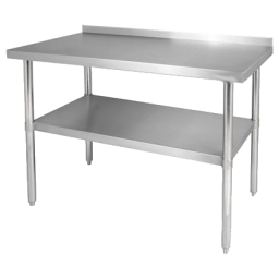 Work Table, Stainless & Galvanized Steel w/ 4″ Backsplash